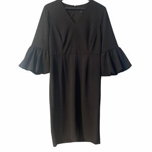 Liz Claiborne Black Puffed sleeve Midi Dress 10